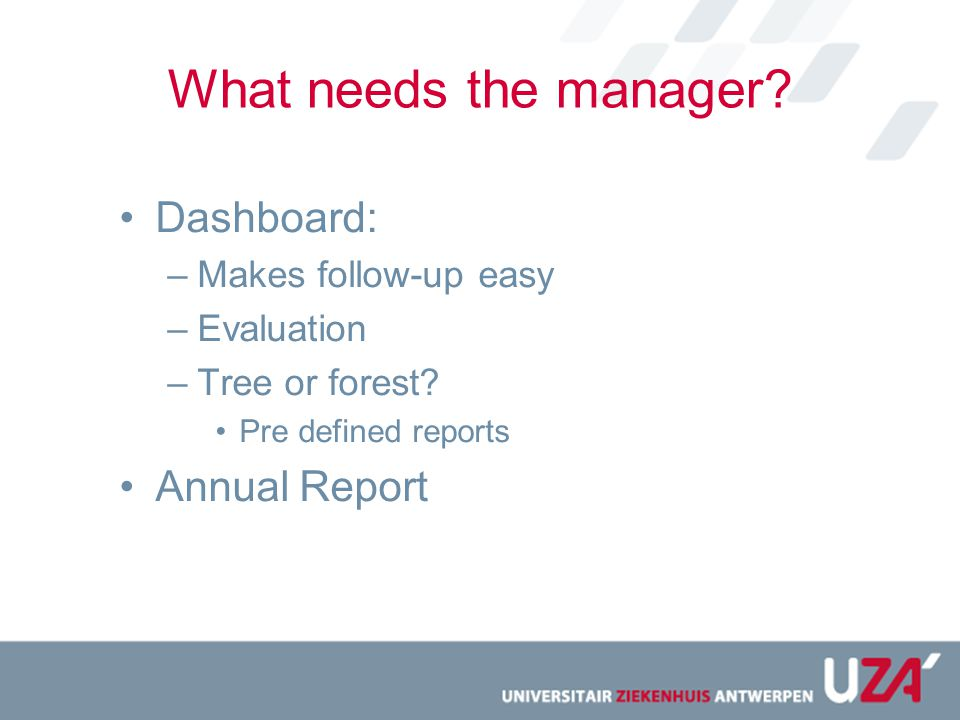 What needs the manager Dashboard: Annual Report Makes follow-up easy