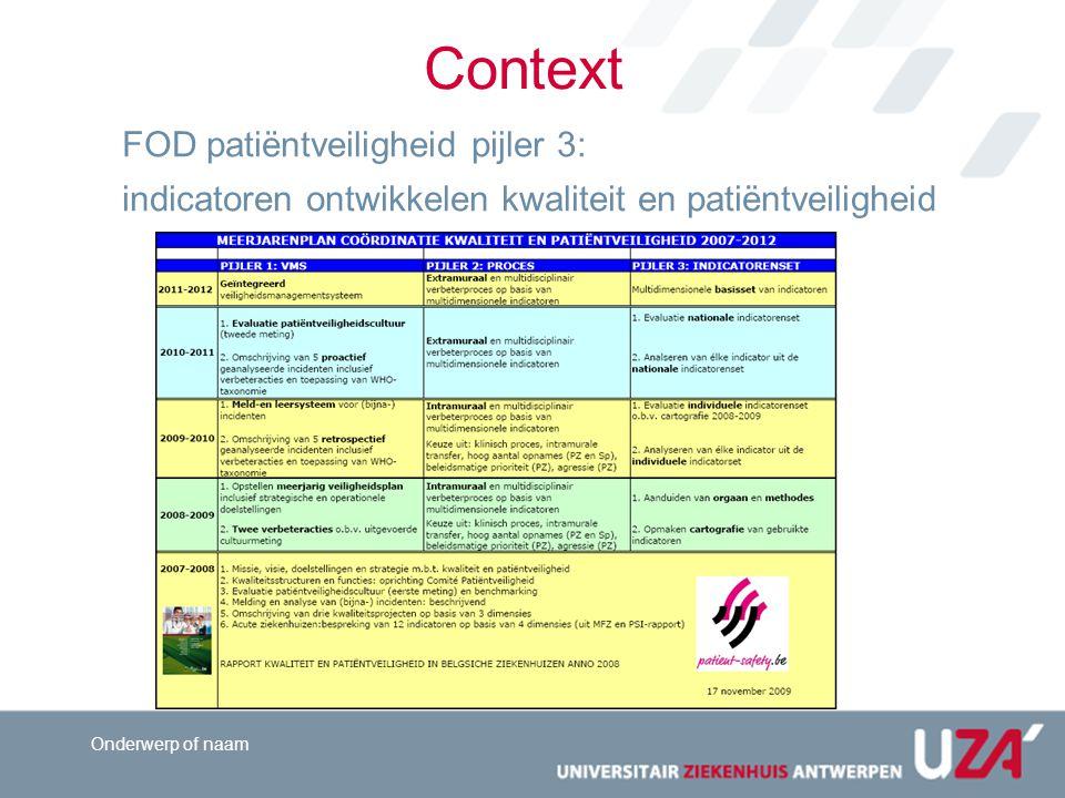 Context FOD patiëntveiligheid pijler 3: