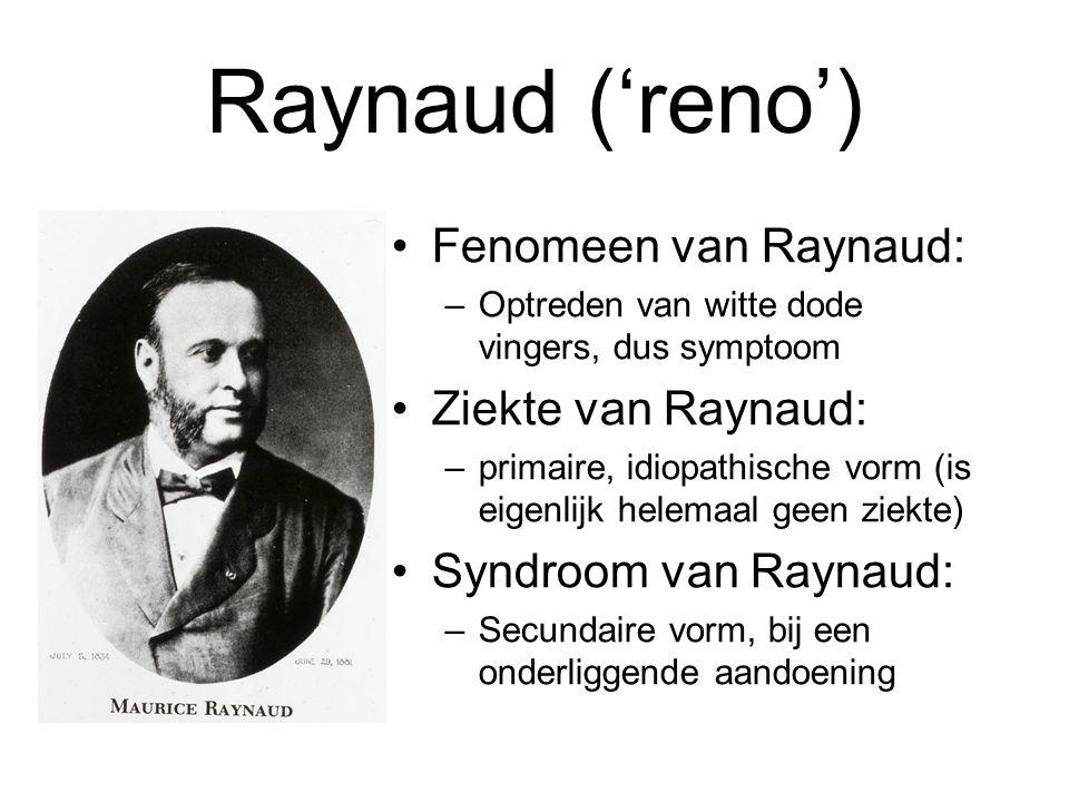 Raynaud ('reno') Fenomeen van Raynaud: Ziekte van Raynaud: