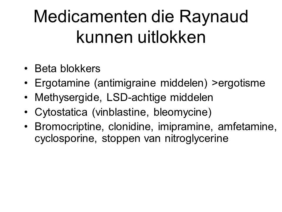 Medicamenten die Raynaud kunnen uitlokken