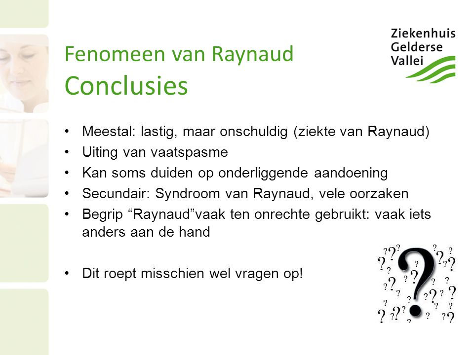 Fenomeen van Raynaud Conclusies