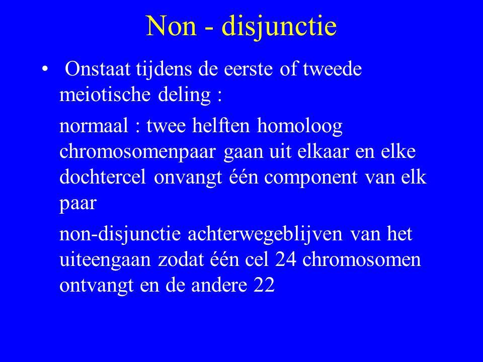 Non - disjunctie Onstaat tijdens de eerste of tweede meiotische deling :