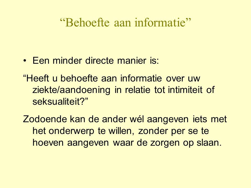 Behoefte aan informatie