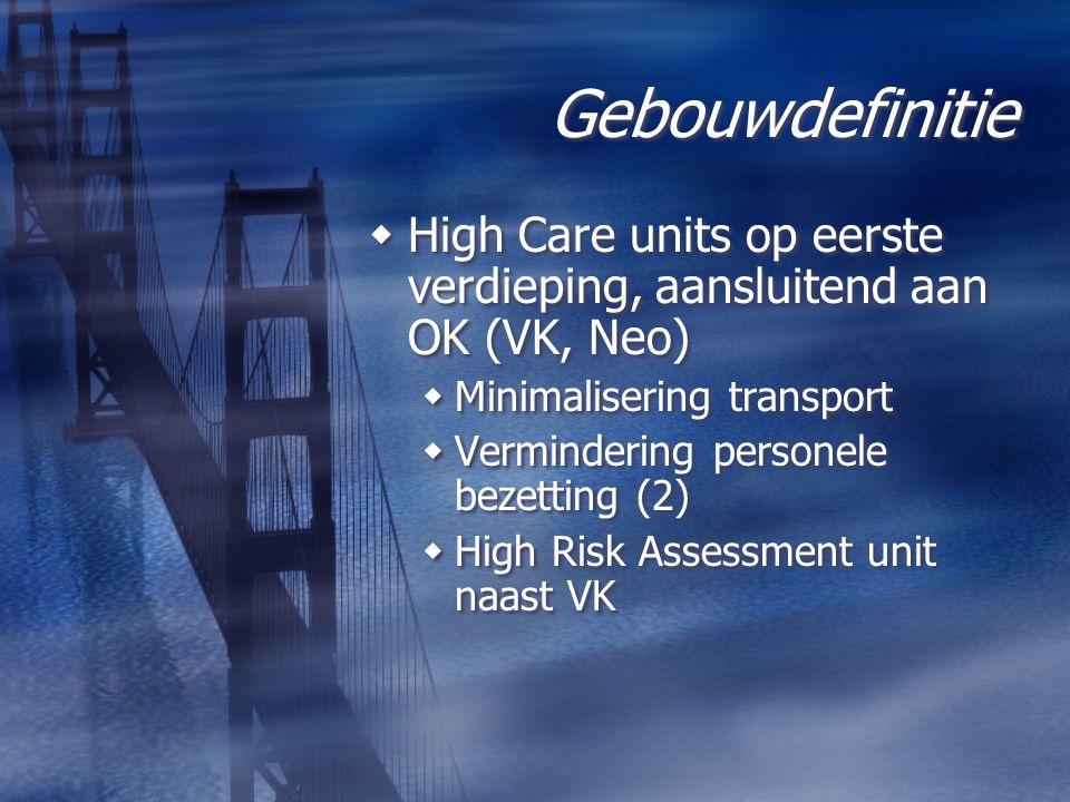 Gebouwdefinitie High Care units op eerste verdieping, aansluitend aan OK (VK, Neo) Minimalisering transport.