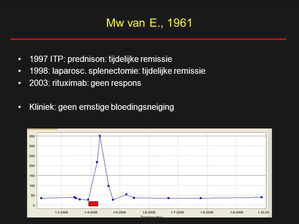 Mw van E., 1961 1997 ITP: prednison: tijdelijke remissie