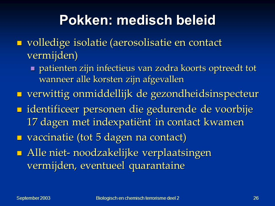 Pokken: medisch beleid