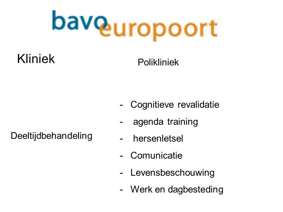 Kliniek Polikliniek Cognitieve revalidatie agenda training