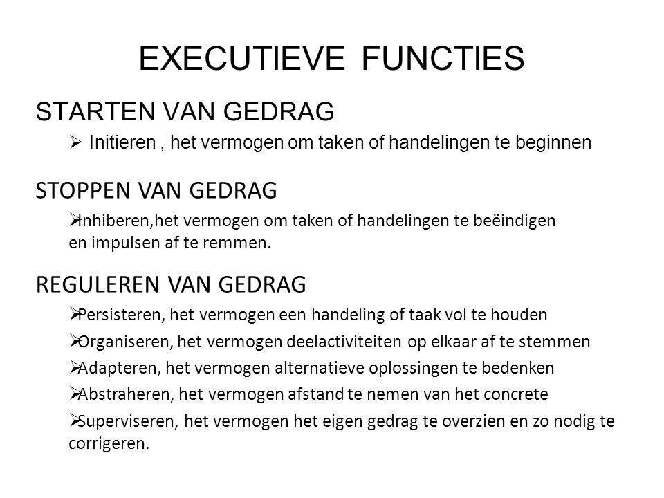 EXECUTIEVE FUNCTIES STARTEN VAN GEDRAG STOPPEN VAN GEDRAG