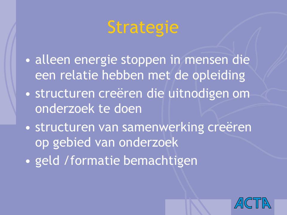 Strategie alleen energie stoppen in mensen die een relatie hebben met de opleiding. structuren creëren die uitnodigen om onderzoek te doen.