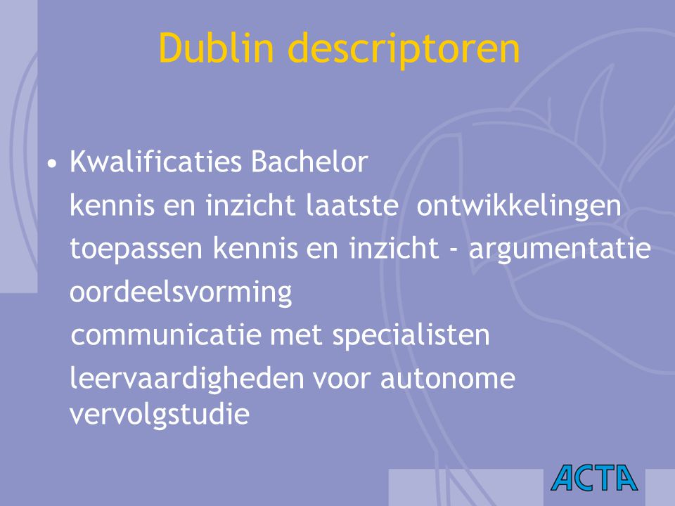 Dublin descriptoren Kwalificaties Bachelor