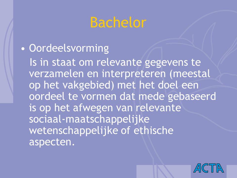 Bachelor Oordeelsvorming