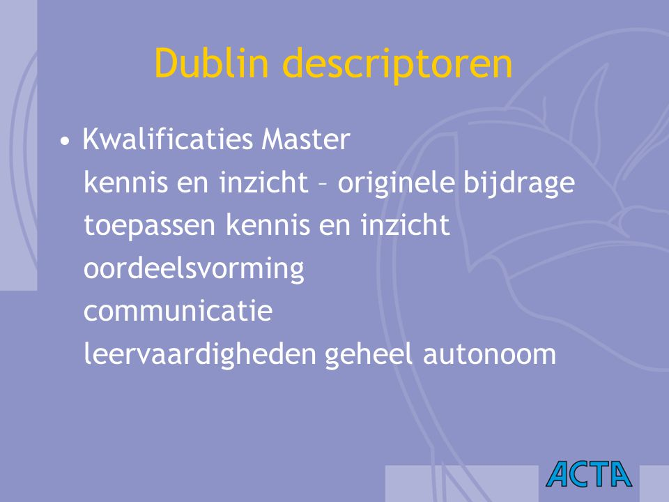Dublin descriptoren Kwalificaties Master