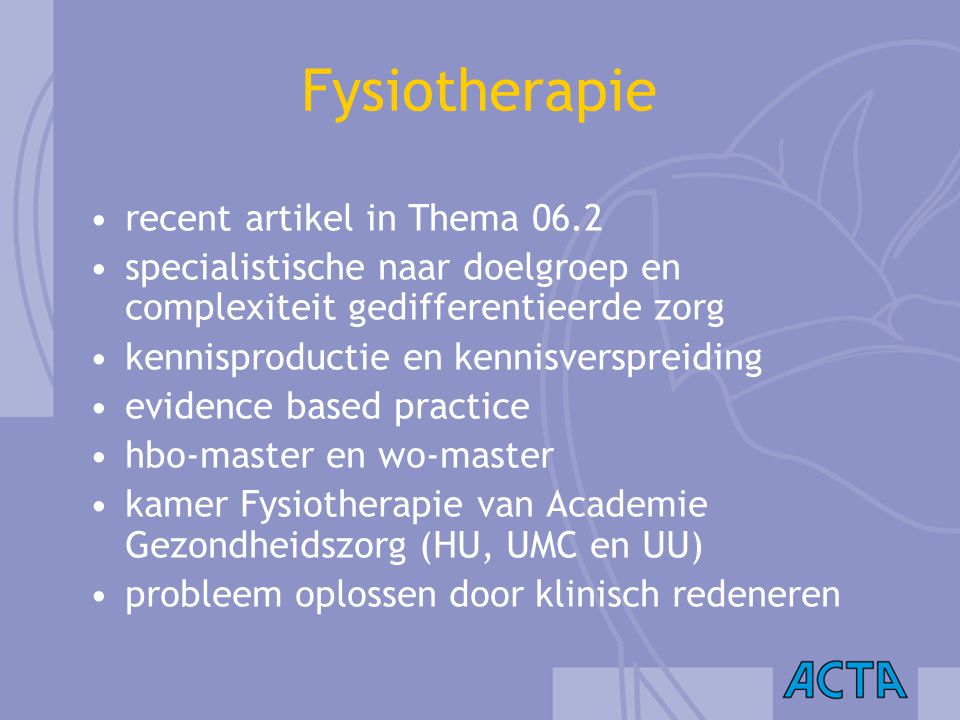 Fysiotherapie recent artikel in Thema 06.2