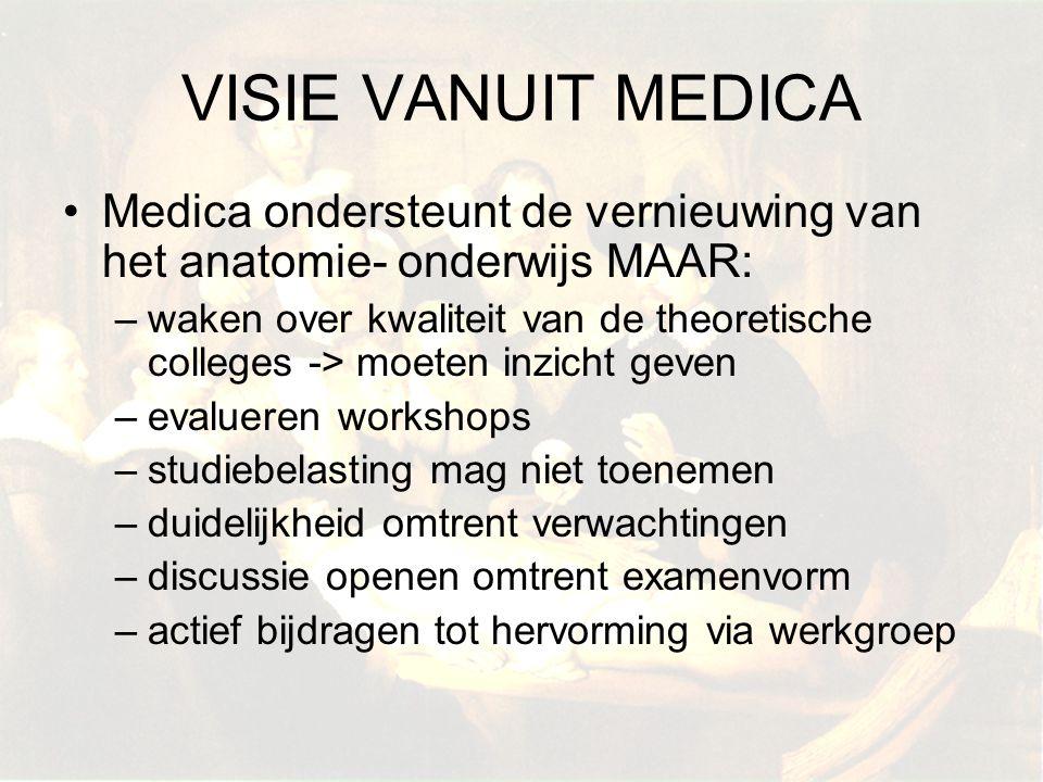 VISIE VANUIT MEDICA Medica ondersteunt de vernieuwing van het anatomie- onderwijs MAAR: