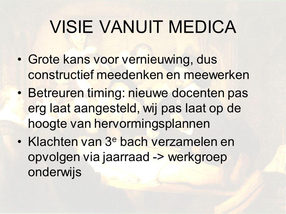 VISIE VANUIT MEDICA Grote kans voor vernieuwing, dus constructief meedenken en meewerken.