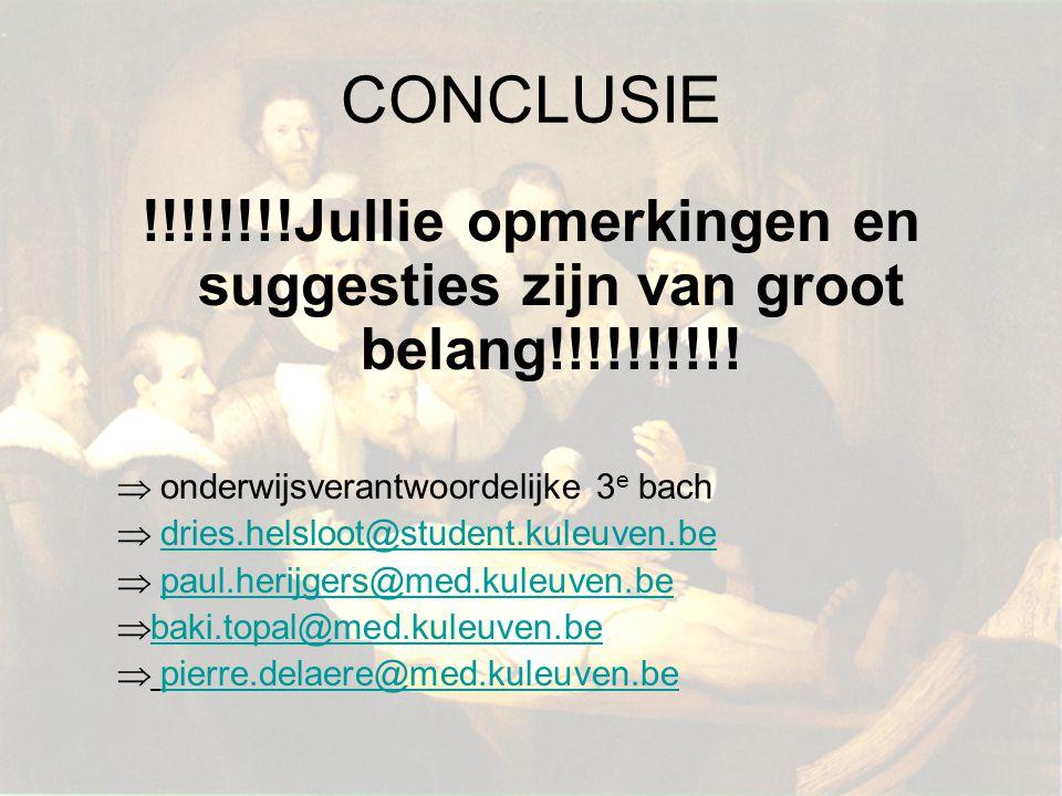 CONCLUSIE !!!!!!!!Jullie opmerkingen en suggesties zijn van groot belang!!!!!!!!!! onderwijsverantwoordelijke 3e bach.