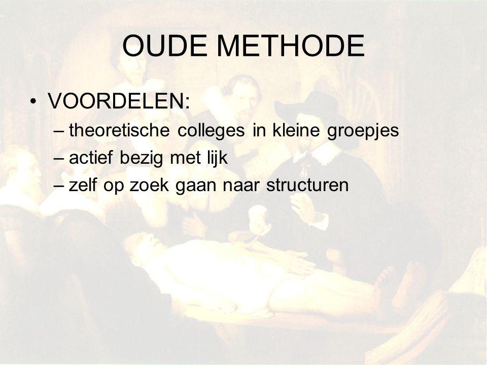 OUDE METHODE VOORDELEN: theoretische colleges in kleine groepjes