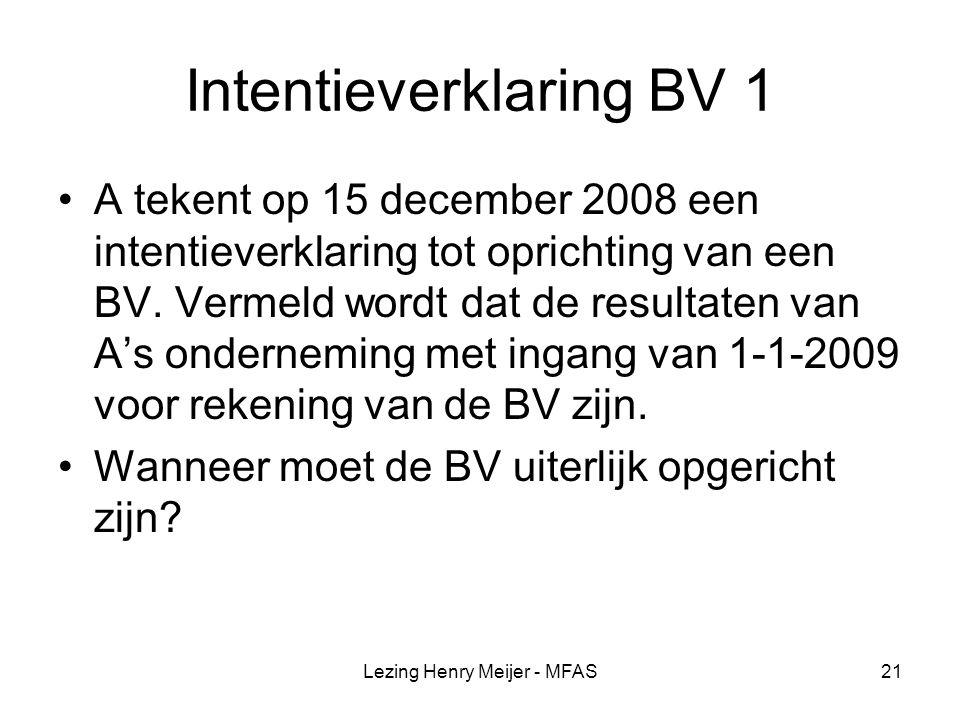Intentieverklaring BV 1