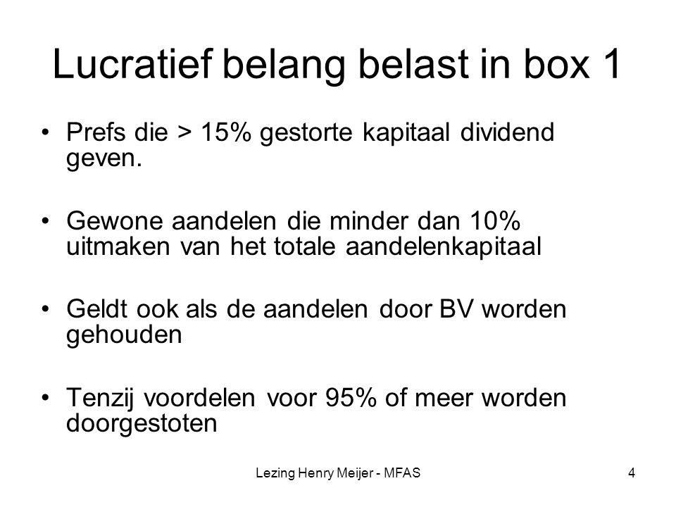 Lucratief belang belast in box 1