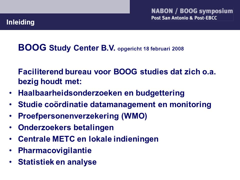BOOG Study Center B.V. opgericht 18 februari 2008