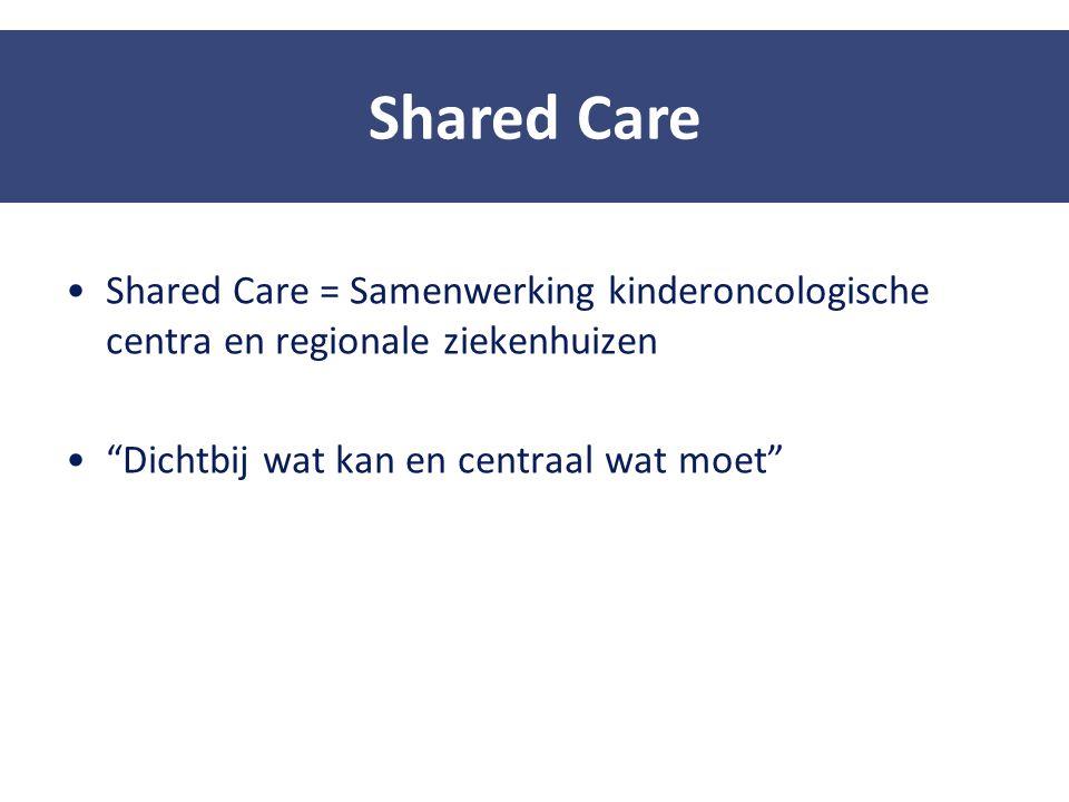 Shared Care Shared Care = Samenwerking kinderoncologische centra en regionale ziekenhuizen. Dichtbij wat kan en centraal wat moet