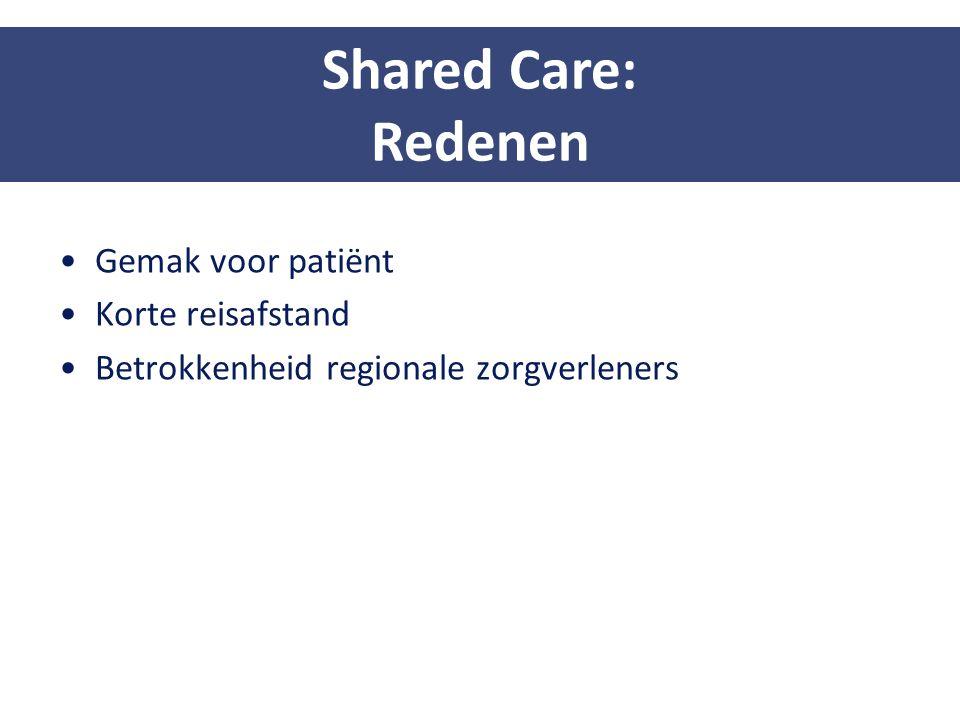 Shared Care: Redenen Gemak voor patiënt Korte reisafstand