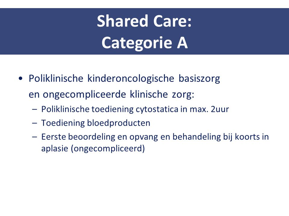 Shared Care: Categorie A