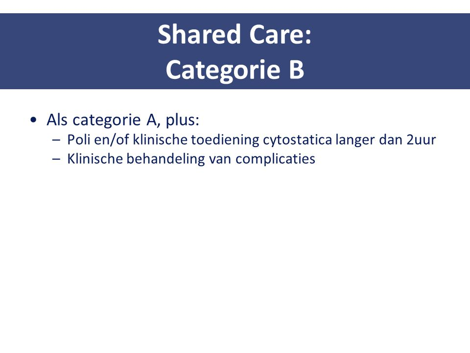 Shared Care: Categorie B