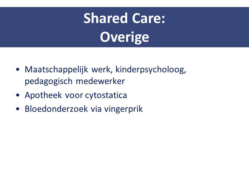 Shared Care: Overige. Maatschappelijk werk, kinderpsycholoog, pedagogisch medewerker. Apotheek voor cytostatica.
