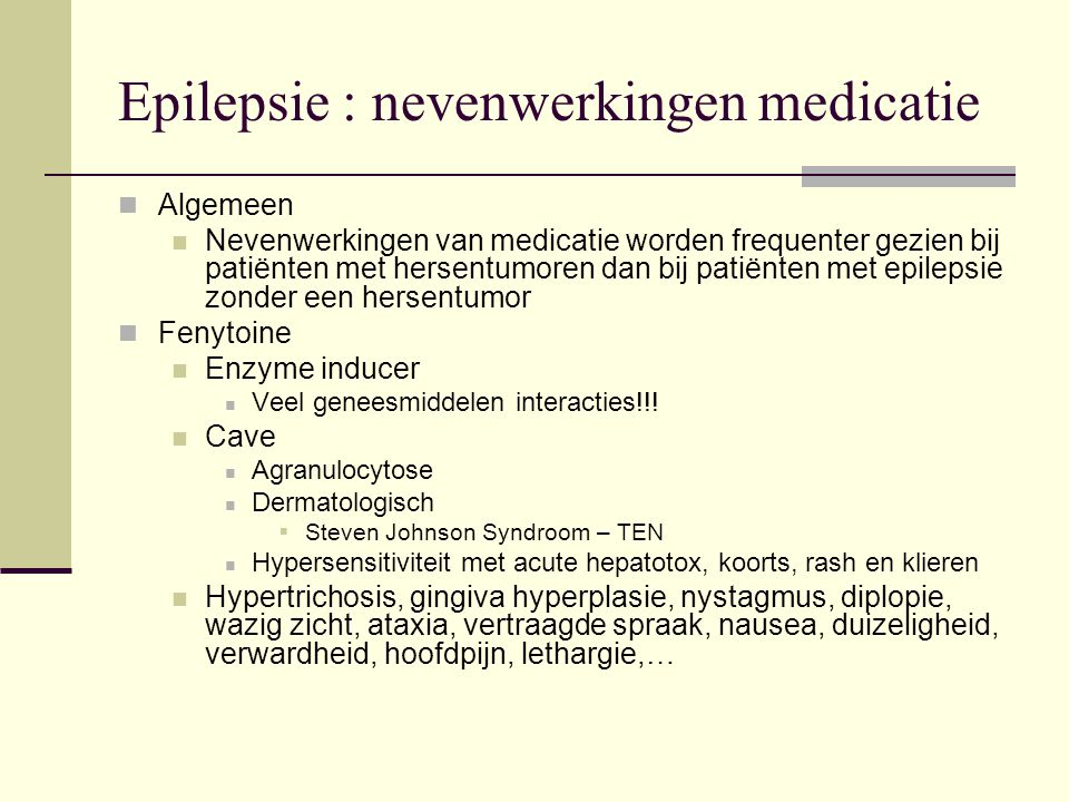 Epilepsie : nevenwerkingen medicatie
