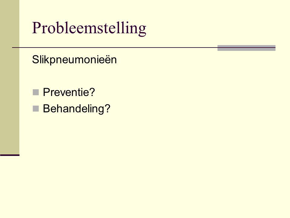 Probleemstelling Slikpneumonieën Preventie Behandeling