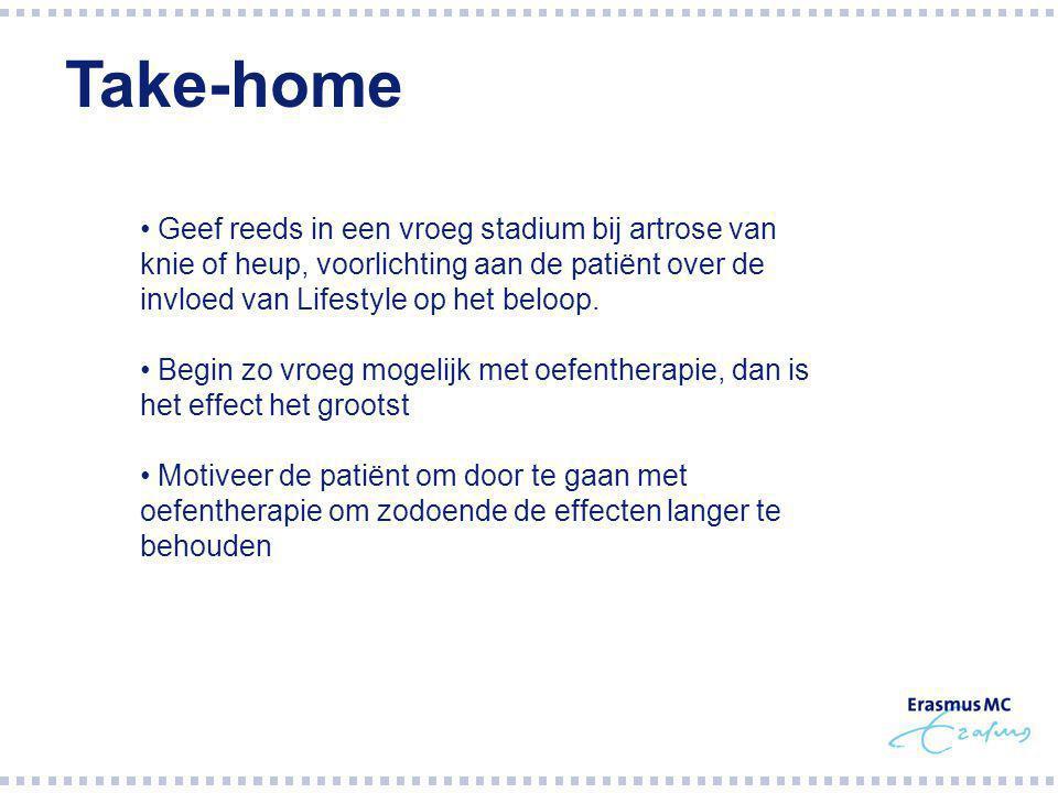 Take-home Geef reeds in een vroeg stadium bij artrose van knie of heup, voorlichting aan de patiënt over de invloed van Lifestyle op het beloop.