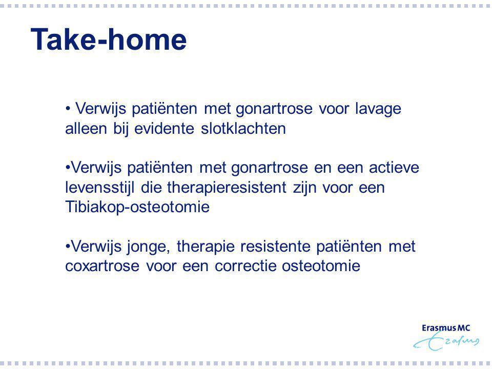 Take-home Verwijs patiënten met gonartrose voor lavage alleen bij evidente slotklachten.
