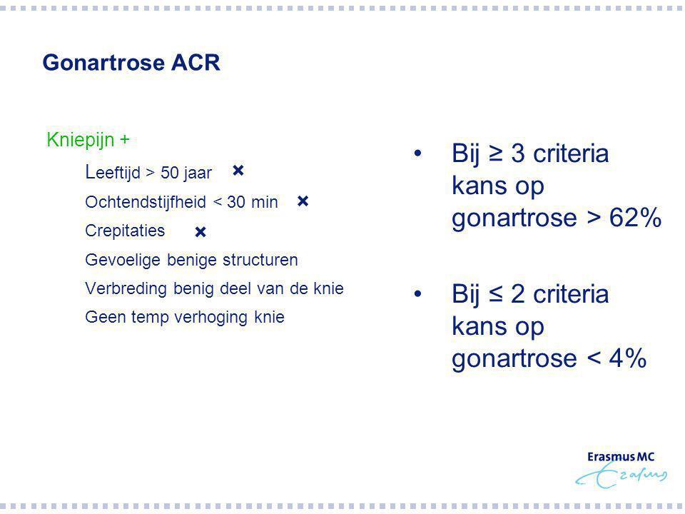 Bij ≥ 3 criteria kans op gonartrose > 62%