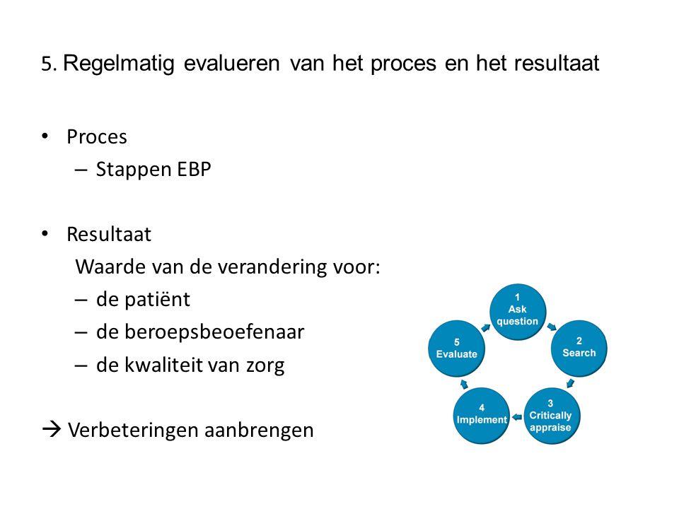 5. Regelmatig evalueren van het proces en het resultaat
