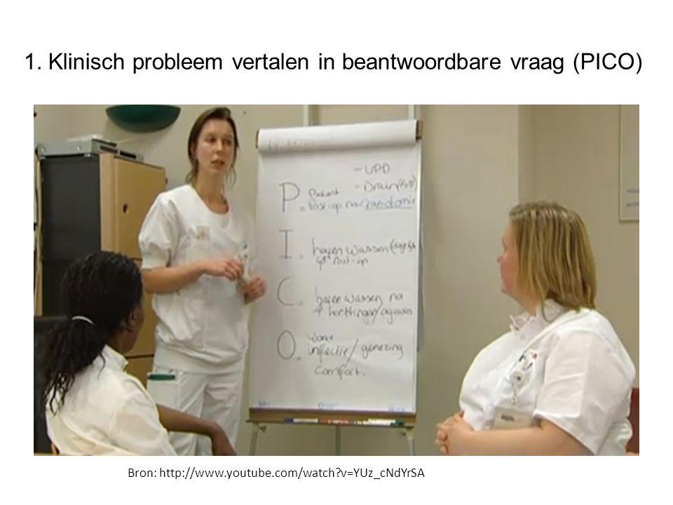 1. Klinisch probleem vertalen in beantwoordbare vraag (PICO)