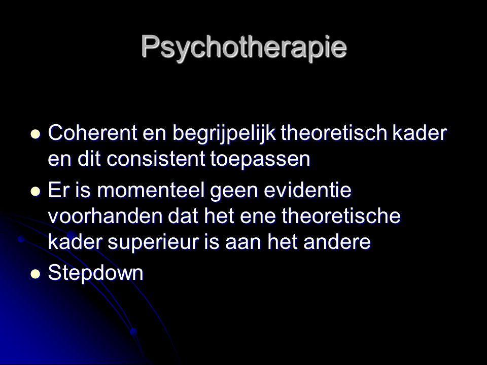 Psychotherapie Coherent en begrijpelijk theoretisch kader en dit consistent toepassen.