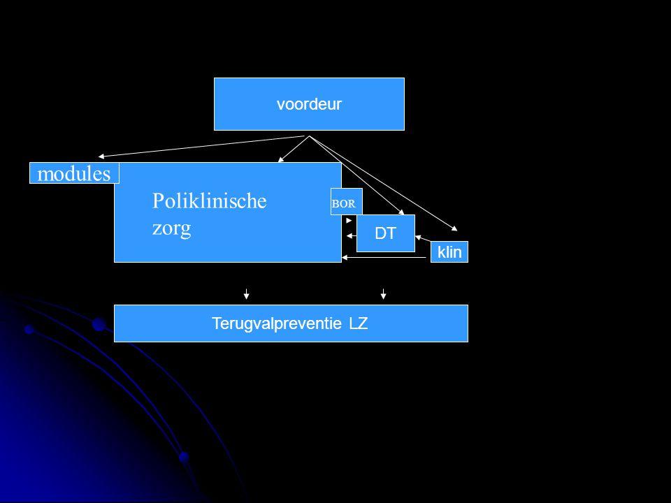 voordeur modules Poliklinische zorg BOR DT klin Terugvalpreventie LZ