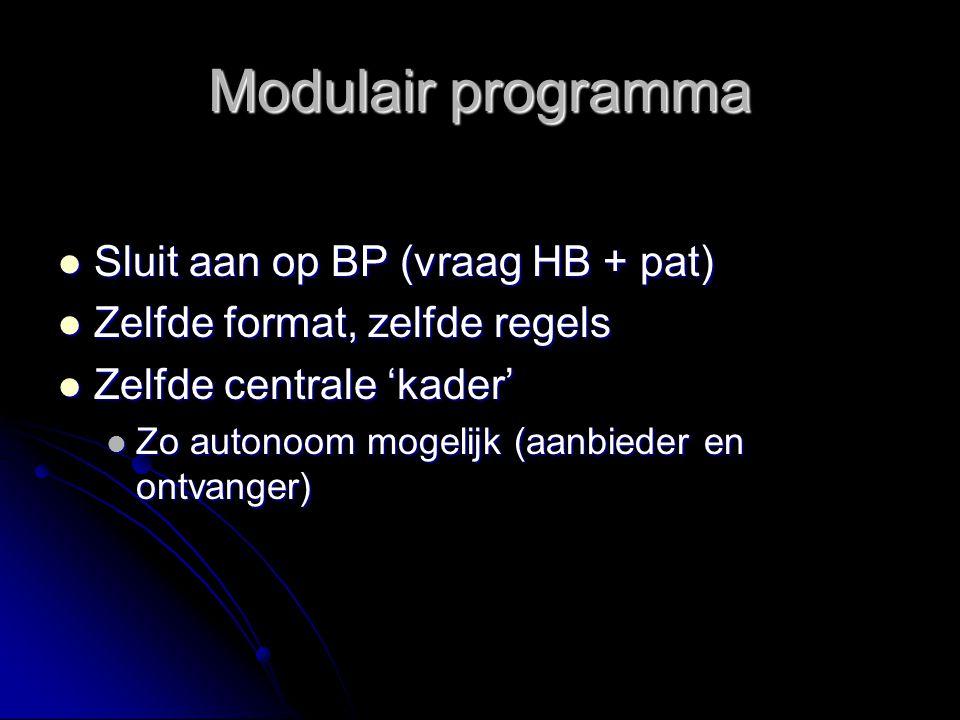 Modulair programma Sluit aan op BP (vraag HB + pat)