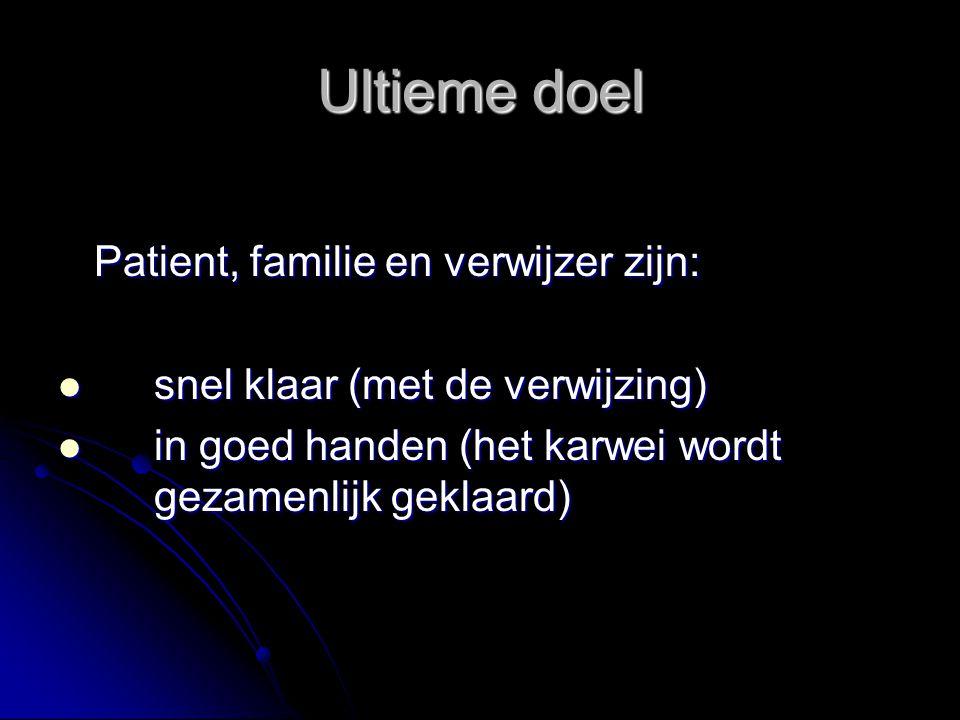 Ultieme doel Patient, familie en verwijzer zijn:
