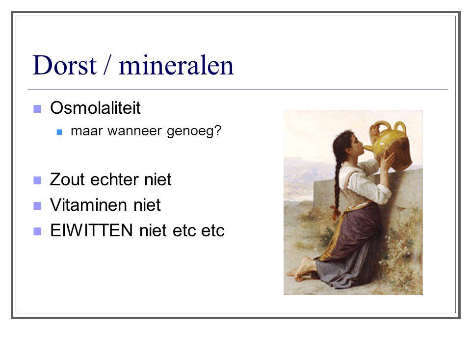 Dorst / mineralen Osmolaliteit Zout echter niet Vitaminen niet