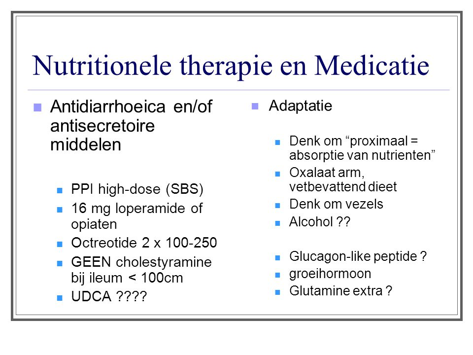 Nutritionele therapie en Medicatie
