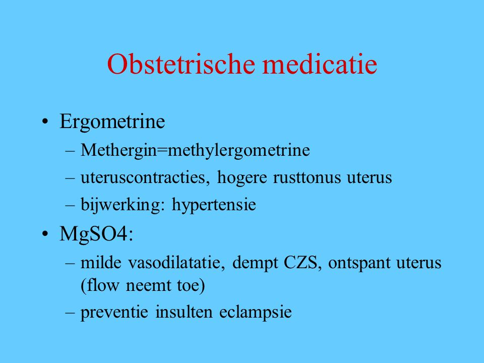 Obstetrische medicatie