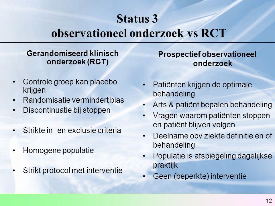 Status 3 observationeel onderzoek vs RCT