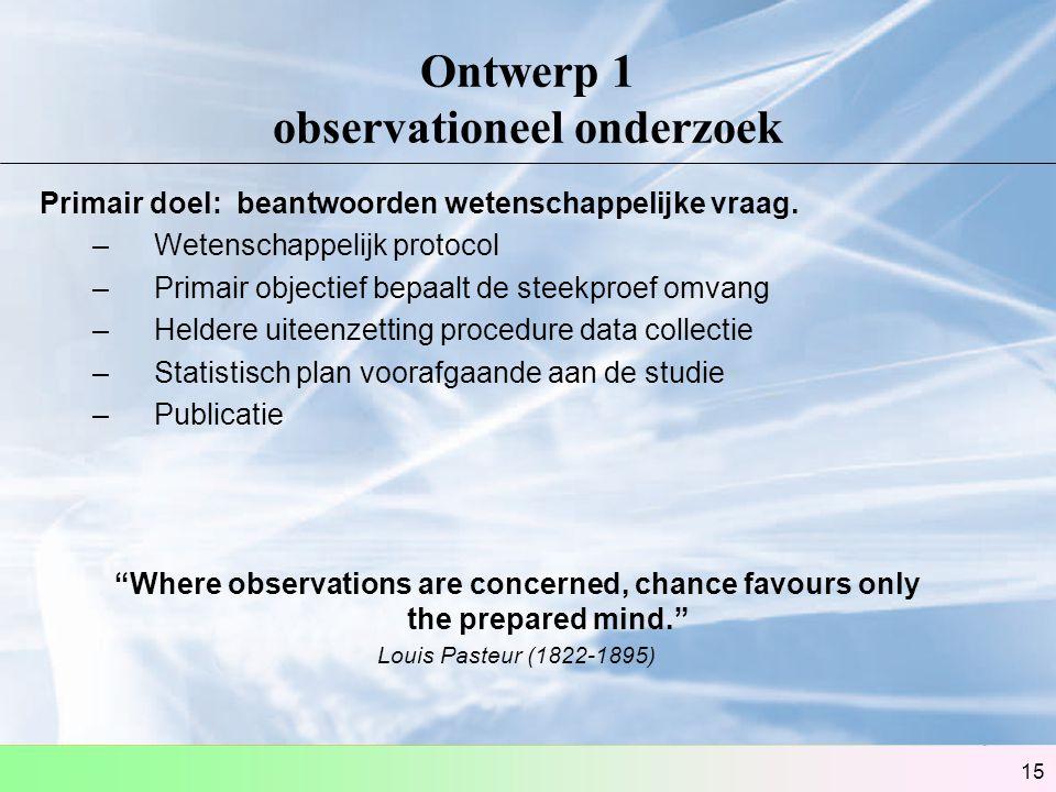 Ontwerp 1 observationeel onderzoek