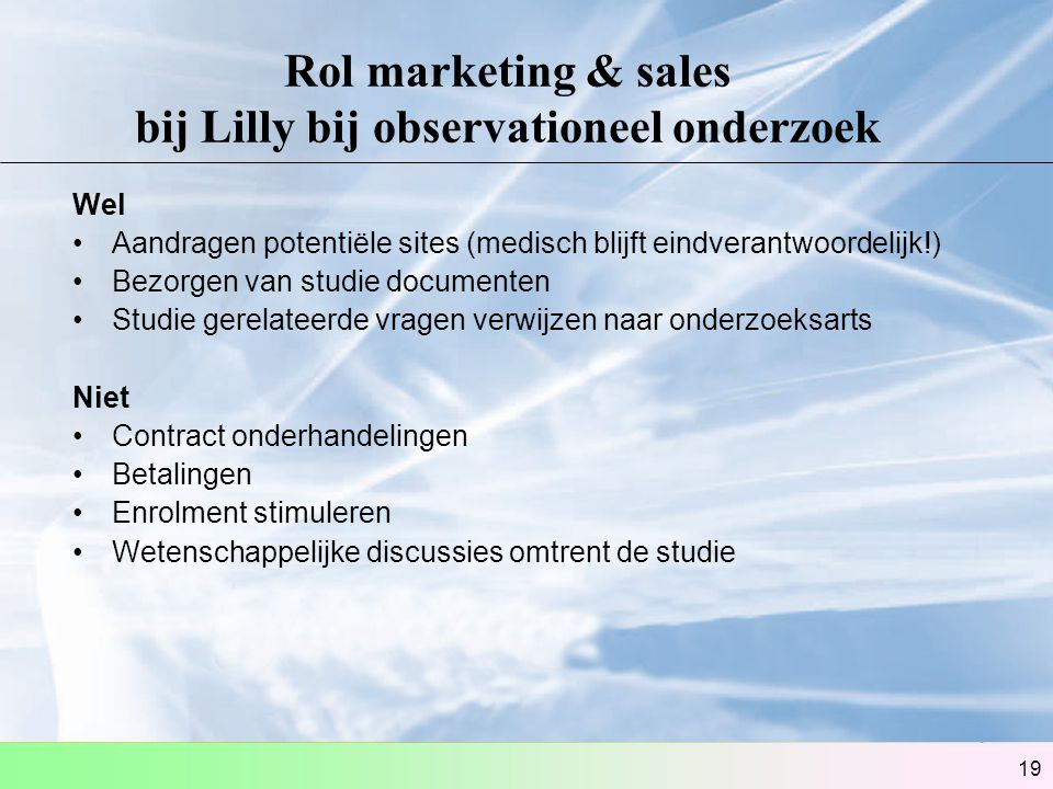 Rol marketing & sales bij Lilly bij observationeel onderzoek