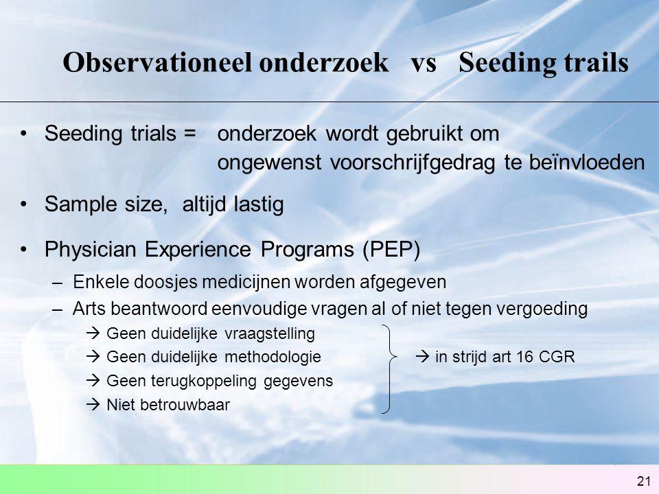 Observationeel onderzoek vs Seeding trails