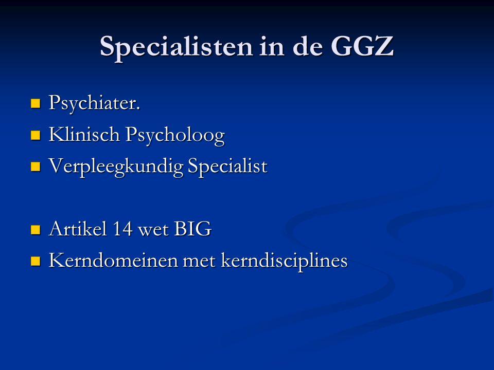 Specialisten in de GGZ Psychiater. Klinisch Psycholoog