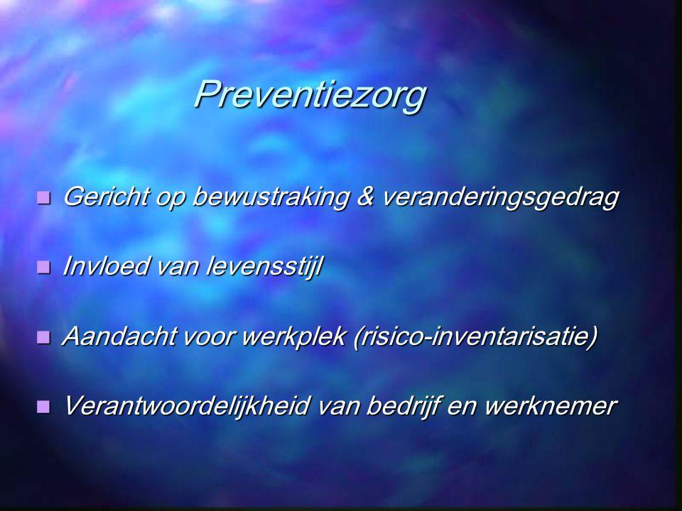 Preventiezorg Gericht op bewustraking & veranderingsgedrag