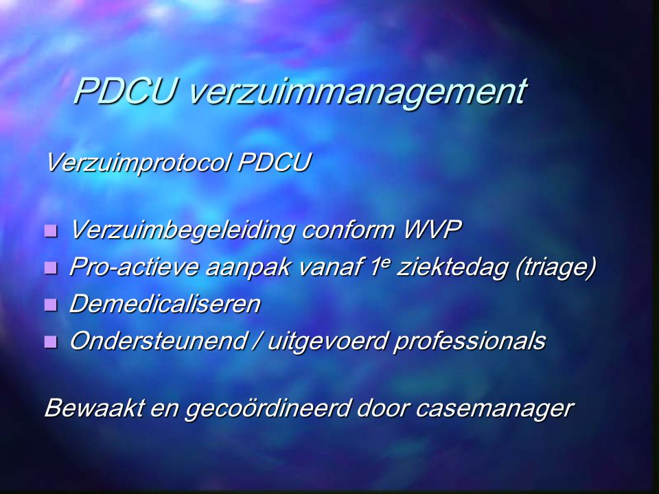 PDCU verzuimmanagement